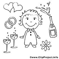 Champagne images gratuites – Mariage à colorier