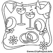 Colombe dessin à télécharger – Mariage à colorier