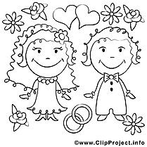 Coloriage couple mariage illustration à télécharger
