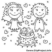 Coloriage gâteau mariage image à télécharger