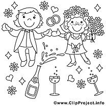 Coloriage mariage illustration à télécharger