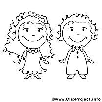 Coloriage noces mariage illustration à télécharger