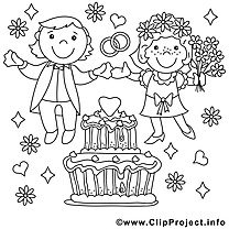 Coloriage noces mariage image à télécharger
