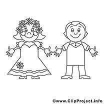 Couple dessin – Coloriage mariage à télécharger