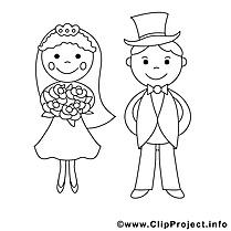 Couple dessin gratuit – Mariage à colorier