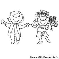 Couple marié clip art – Mariage image à colorier