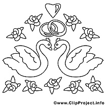 Cygnes dessins gratuits – Mariage à colorier
