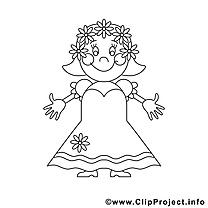 Épouse clipart gratuit – Mariage à colorier