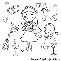 Fiancée dessin gratuit – Mariage à colorier