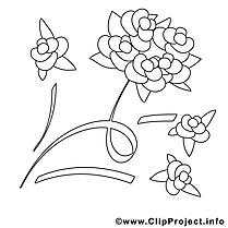 Rose image à télécharger – Mariage à colorier