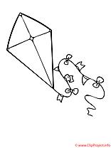 Cerf-volant images gratuites – Maternelle à colorier