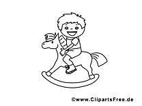 Cheval en bois clip art gratuit – Maternelle à imprimer