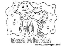Coloriage amis maternelle image à télécharger