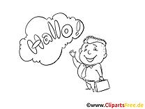 Coloriage salut maternelle illustration à télécharger
