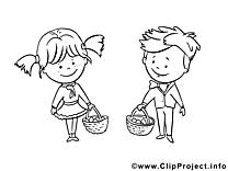 Cueilleur image – Coloriage maternelle illustration