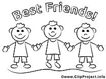 Meilleurs amis image gratuite – Maternelle à colorier