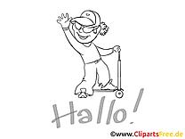 Scooter dessin gratuit – Maternelle à colorier