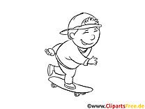 Skateboard clip art gratuit – Maternelle à colorier