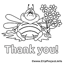 Abeille illustration – Coloriage merci cliparts