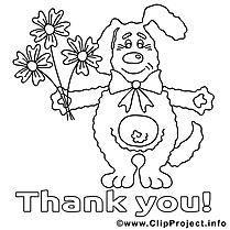 Chien dessin à télécharger – Merci à colorier