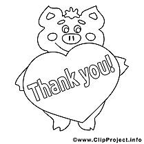 Cochon dessin gratuit – Merci à colorier