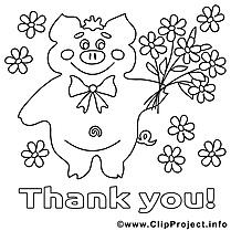 Cochon image gratuite – Merci à colorier