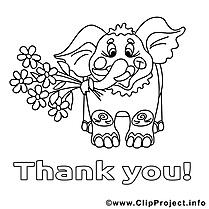 Éléphant clipart gratuit – Merci à colorier