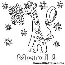 Girafe images – Merci gratuit à imprimer