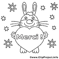 Lapin clipart – Merci dessins à colorier