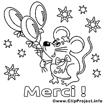 Souris clipart – Merci dessins à colorier