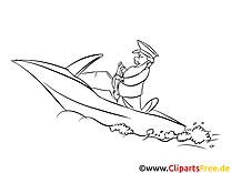 Yacht clip art – Mer image à colorier