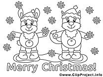 Animaux clip art gratuit – Noël à colorier