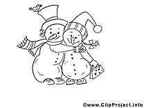Bonhommes de neige image – Noël images à colorier