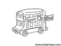 Bus clipart gratuit – Noël à colorier