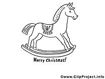 Cheval en bois image à télécharger – Noël à colorier