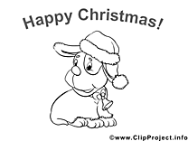 Chien image – Coloriage Noël illustration