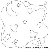 Lune étoiles image gratuite – Noël à colorier