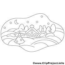 Maison hiver clipart gratuit – Noël à colorier