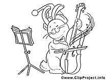 Musique lapin dessin à télécharger – Noël à colorier