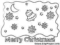 Nuit clip art – Noël image à colorier