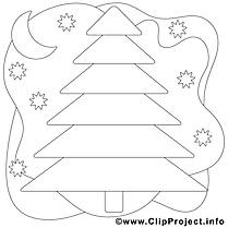 Nuit sapin image à télécharger – Noël à colorier