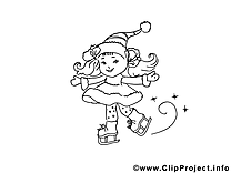 Patins à glace images gratuites – Noël à colorier