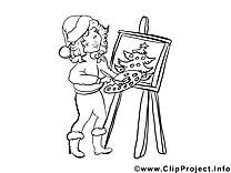 Peintre dessin – Noël gratuits à imprimer