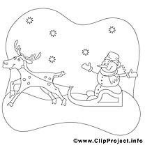 Renne bonhomme de neige dessin gratuit – Noël à colorier