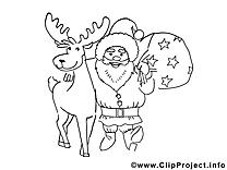Renne clipart – Noël dessins à colorier