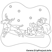 Renne luges image – Coloriage noël illustration