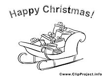 Traîneau clip art – Noël image à colorier