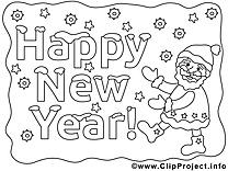 Bon réveillon image gratuite – Nouvel an à colorier