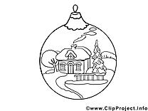 Boule maison illustration – Nouvel an à imprimer