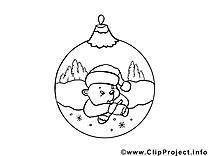 Boule ours dessins gratuits – Nouvel an à colorier